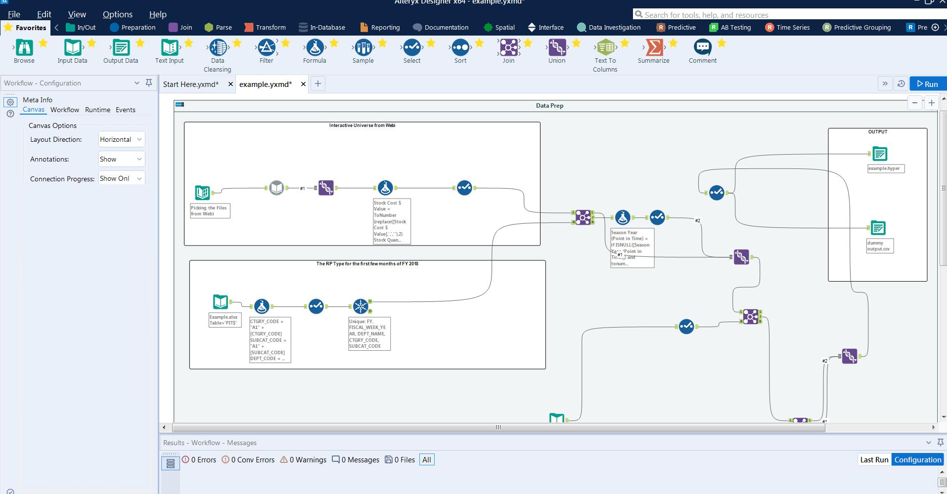 Alteryx Training Workflow Screenshot