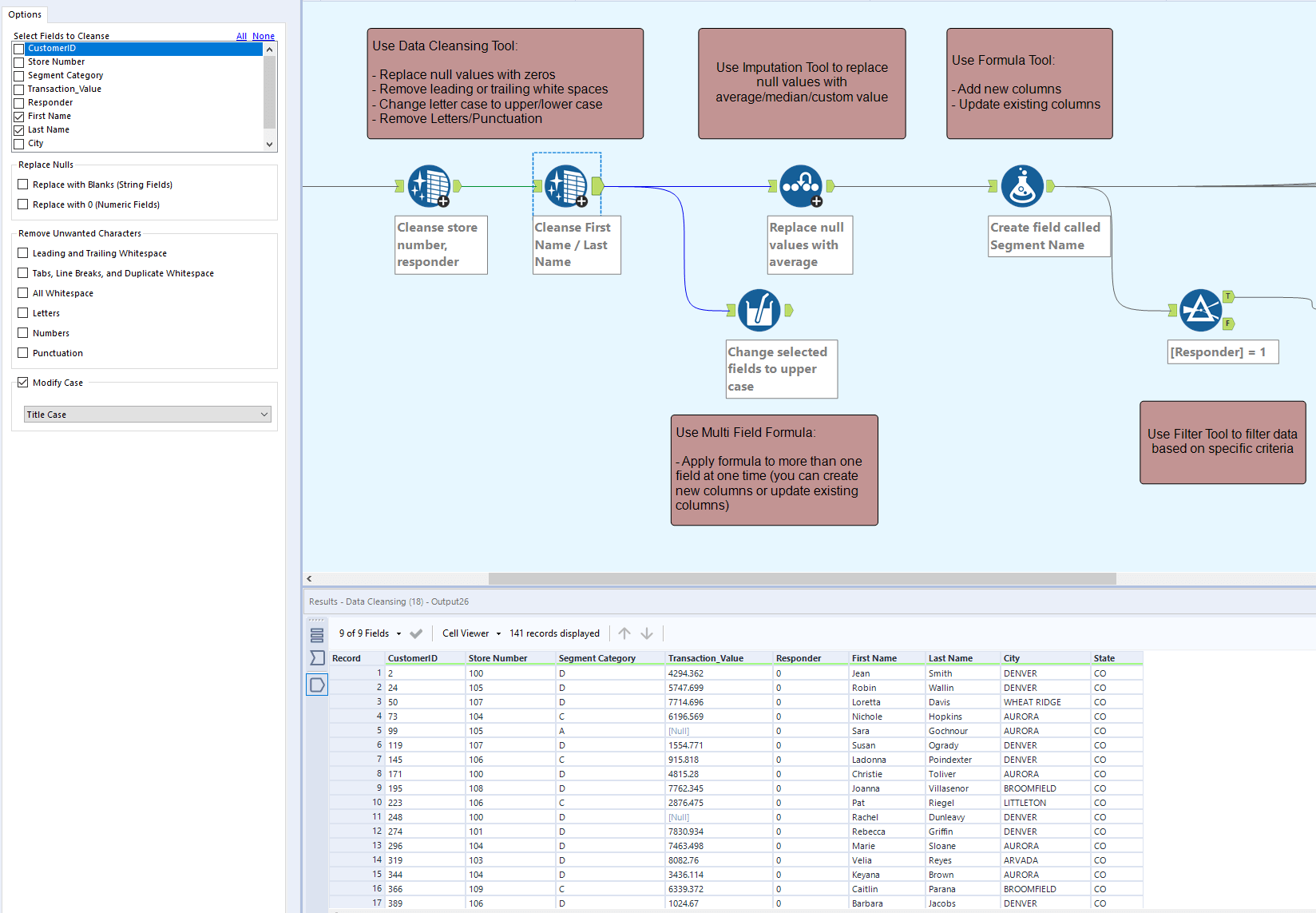 Data Cleansing with Alteryx example