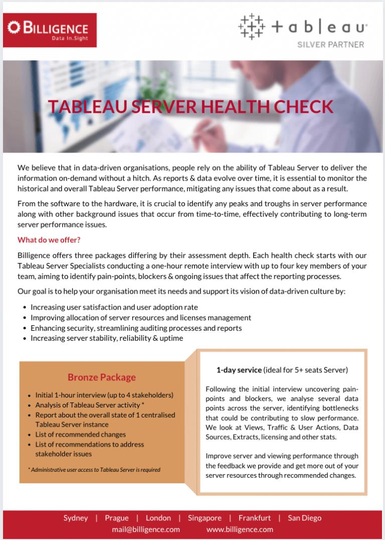 Billigence Tableau Server Health Check PDF